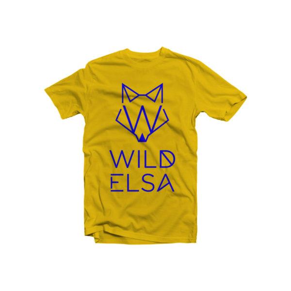 T-Shirt wildelsa gialla stampa blu