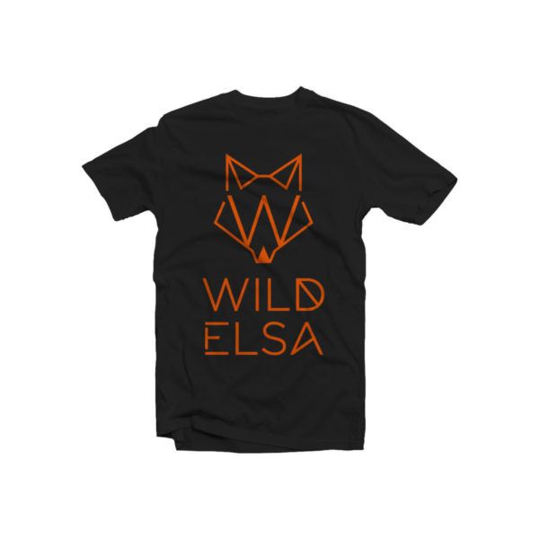 T-Shirt wildelsa nera stampa arancio